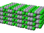 Space-filling model of part of the crystal structure of calomel, mercury(I) chloride, Hg 2 Cl 2 . Structural data from the CrystalMaker 8.1 structure library, originally from Calos N J, Kennard C H L, Davis R L (1989) Zeitschrift für Kristallographie 187: