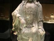 Chinese porcelain statue of the Buddha, Guan Yin, from the Yuan Dynasty (1271-1368 AD) of medieval China.