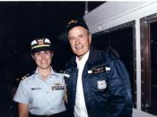 Portrait of LT Sandra L. Stosz with President George H. W. Bush