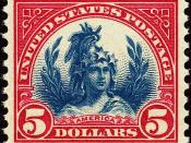 English: US Postage Stamp, Freedom, $5, blue and red