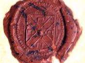 Wax seal of Chief Magistrate William Stoughton on the warrant for the execution of Bridget Bishop, 1692.