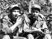 "Raul Castro, left, with has his arm around second-in-command, Ernesto ""Che"" Guevara, in their Sierra de Cristal Mountain stronghold south of Havana, Cuba, during the Cuban revolution."