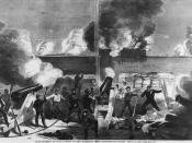 "English: ""Bombardment of Fort Sumter by the batteries of the Confederate states,"" 1861. Prints and Photographs Division, Library of Congress. Reproduction Number LC-USZ62-90258"
