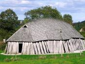 A reconstructed Viking Age longhouse (28.5 metres long) in Fyrkat.