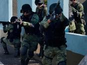 English: Mexican army in tactical gear and current Mexican digital BDU