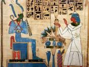 English: The god Osiris receiving offerings. Modification of File:Hieratic Book of the Dead of Padiamenet.jpg; cropped and colors enhanced