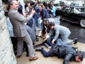 Secret Service agents in response at the assassination attempt of Ronald Reagan by John Hinckley, Jr. on March 30, 1981