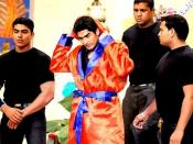 English: Boxer Vijender Singh prepairing for a boxing match on a television show