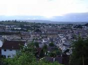 View over central Newton Abbot, Devon, UK - taken from Wolborough Hill, July 2005.