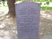 English: My photo of the Boston Massacre victims grave including Crispus Attucks in Boston Massachusetts' Granary Burying Ground.