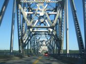 Crossing the Rip Van Winkle Bridge eastbound in upstate New York. Detail of the truss work.