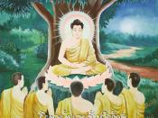 Painting of the first teaching Buddha Gautama gave after his enlightenment, at the Deer Park in Sarnath, India (close to Varanasi). The five monks in the foreground are his five old friends, who suspected that Buddha would attain enlightenment and stayed