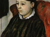 English: Portrait of Madame Cezanne in a Striped Robe (c1882-4) by Paul Cezanne, Painting, oil on canvas, (in private collection)