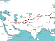 A map indicating trading routes used around the 1st century CE centred on the Silk Road.