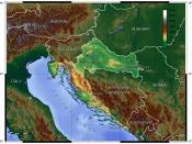 English: Topographic map of Croatia Deutsch: Topografische Karte Kroations