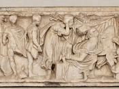 Sarcophagus with scenes from the myth of Medea: the sending of gifts to Creusa; the death of Creusa; the departure of Medea with the bodies of her children. Greek marble, 150-170 CE.