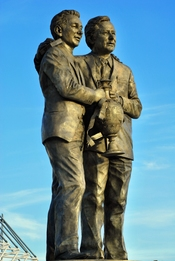 English: Brian Clough and Peter Taylor statue at Pride Park Stadium, Derby County Football Club, Derby England