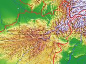 Topography of Hindu Kush. Fragment of the image Image:Afghanistan Topography.png
