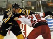English: Shawn Thornton fighting Wade Brookbank