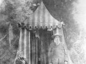 English: John & Annie Bidwell in front of their tent camping. ca. 1898