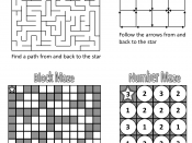 English: A printable set of maze types (see solutions)