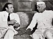 Jawaharlal Nehru (right) with Muhammad Ali Bogra, Prime Minister of Pakistan (left), during his 1953 visit to Karachi