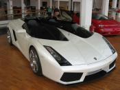A white Lamborghini Concept S in the Lamborghini Museum in Sant'Agata Bolognese