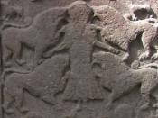 English: Vanora, wife of King Arthur, being fed to wild beasts as punishment for her infidelity. From Meigle 2 Pictish stone, in the Meigle Sculptured Stone Museum in Scotland.