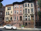 Brownstones in Bedford-Stuyvesant, Brooklyn. Photo taken by webmaster of BedStuyGateway.com and released to the public domain.