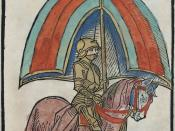 English: Illustration of a knight in Gothic armor from Concilium zu Constanz woodcut (digitized page 34 of 509)