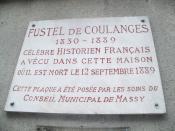 Français : Plaque hommage à Fustel de Coulanges, à Massy, France