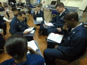 English: PERSIAN GULF (April 10, 2007) - USS Boxer (LHD 4) Sailors attend a Program Afloat for College Education (PACE) American Government class. Boxer Sailors are taking advantage of the Navy's commitment to education by taking PACE classes which could