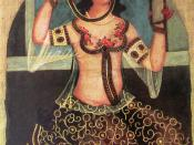 Girl with Mirror (Qajar art, Art Museum of Georgia)