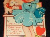 Scan of a Valentine greeting card circa 1930, possibly inspired by child actress Shirley Temple.