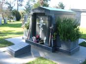 The mausoleum of Joe DiMaggio at Holy Cross Cemetery, Colma, California.