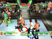 The game's Royal Rumble mode features more than six characters on screen at once. The game also allows multiple instances of one wrestler to be in the same match: in this picture there are three Steve Austins