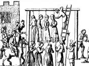 Image of witches being hanged, from Ralph Gardiner, England's Grievance Discovered in Relation to the Coal Trade, 1655.