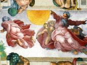 God creating the Sun, Moon and Earth, Michelangelo, from the Ceiling of the Sistine Chapel.