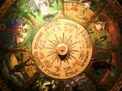 A photograph of a painted Wheel of the Year from the Museum of Witchcraft, Boscastle.