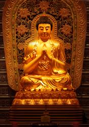 English: Shakyamuni Buddha statue at Fo Guang Shan Buddhist Temple in London, UK. Modern Chinese style.