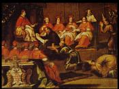 Guy Tachard, with Siamese envoys, translating the letter of king Narai to Pope Innocent XI, December 1688