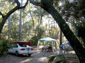 Car Camping at Hunting Island State Park, South Carolina, USA. Taken by User:Mwanner, June, 2005.