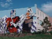 Denver's professional sports teams are illustrated in this mural covering the rear of a building in 1995, just before the Avalanche of the NHL began play.