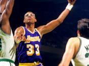 English: Los Angeles Lakers Kareem Abdul-Jabbar with Boston Celtics Robert Parish and Kevin McHale late 1980s