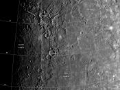 English: Mariner 10 photomosaic of Caloris Basin on Mercury, with labels