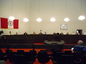 The City Council meeting in the former City Hall on River Street