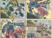 Autobot Brawn faces Decepticons Rumble and Frenzy in Marvel's Transformers comics.