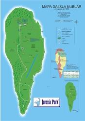 Português: Mapa da Isla Nublar, baseado no livro Jurassic Park, de Michael Crichton.