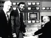 English: Sen. Robert Byrd (D-WV) flipping the switch for C-SPAN2, on June 2, 1986 (with C-SPAN founder Brian Lamb and then-president of C-SPAN Paul FitzPatrick).
