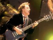 Angus Young, lead guitarist of the hard rock band